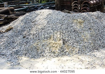 Piles Of Gravel And Sand