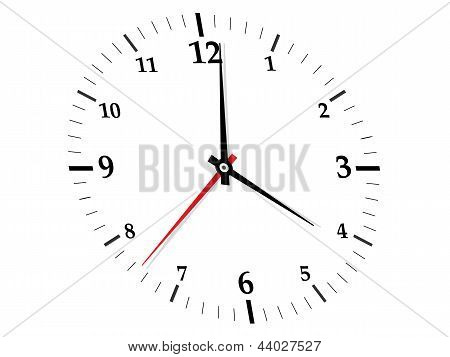 White clock on white background