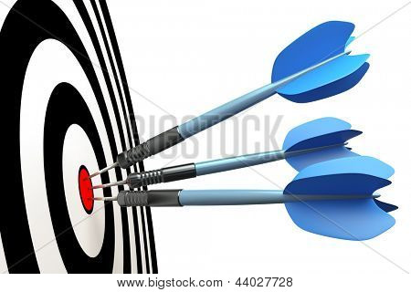 An image of three blue dart arrows