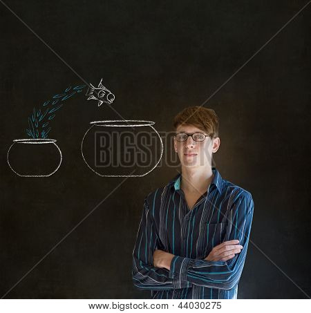 Man With Jumping Fish Small To Big Bowl