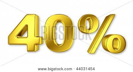 40% discount digits in gold metal, forty percent golden sign