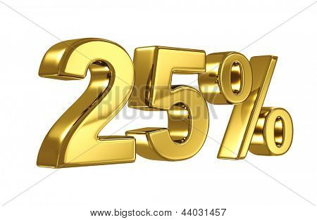 25% discount digits in gold metal, twenty five percent off golden sign