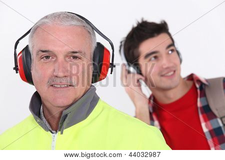 Builder wearing ear protection