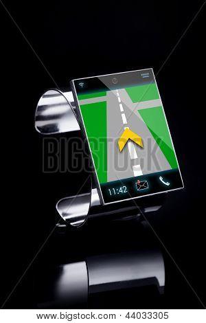 Modernen Internet Smart Watch auf schwarzem Hintergrund