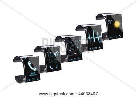 Collection Of Internet Smart Watches, Isolated On White