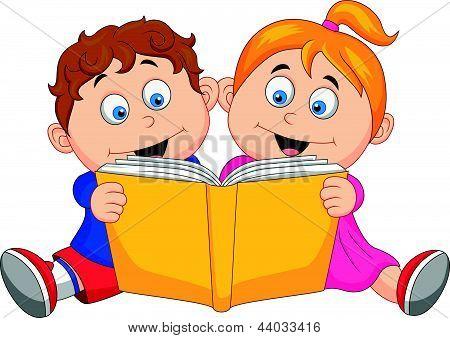 Vectores y fotos en stock de Dibujos animados de niños leyendo un ...