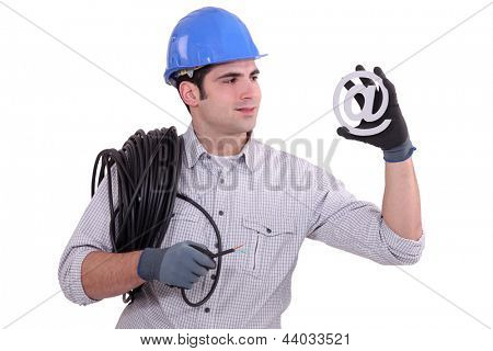 Electrician with email symbol