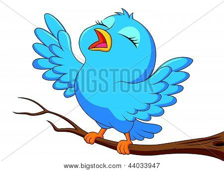 Der blaue Vogel Cartoon singen