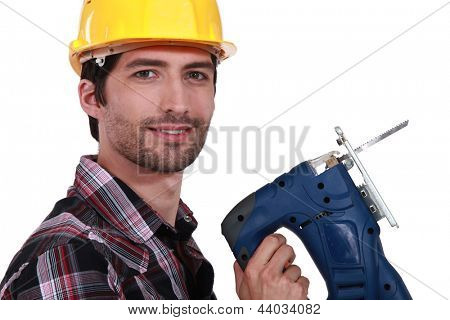 Man holding band-saw