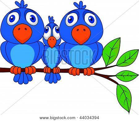 Cartoon engraçado pássaro azul