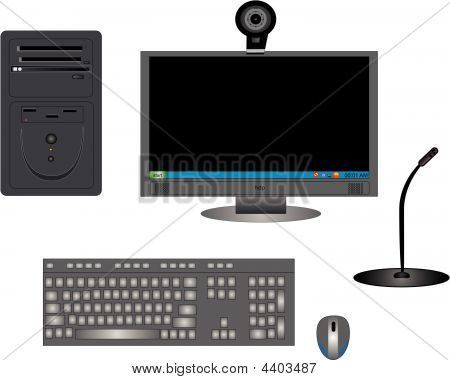 Illustration Of Computer Components In Black