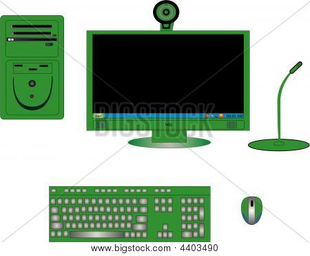 Illustration Of Computer Components In Green