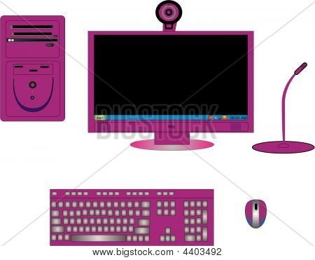 Illustration Of Computer Components In Magenta Or Pink