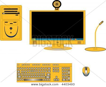 Illustrations Of Computer Components In Yellow