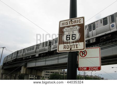 Historic Route 66 Sign In Chicago (United States Of America)