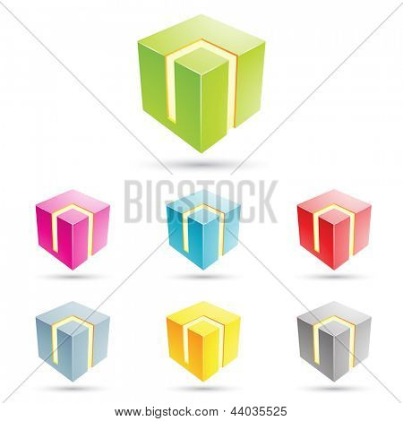 eps vector illustration of colorful cubical icons