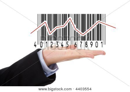 Businesswoman Hand Holding Barcode Illustrating The Stock Market