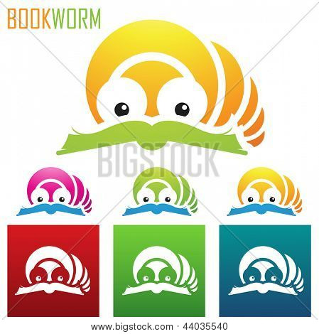 vector eps illustration of book worm icons