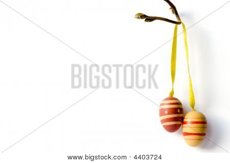 Wooden Easter Eggs On Branch