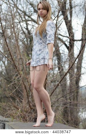 Barefooted Pretty Blonde
