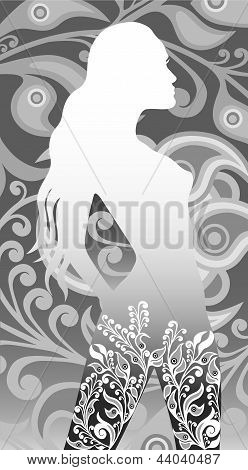 floral silhouette of a girl