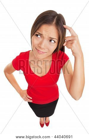 Confused Woman Scratching Her Head