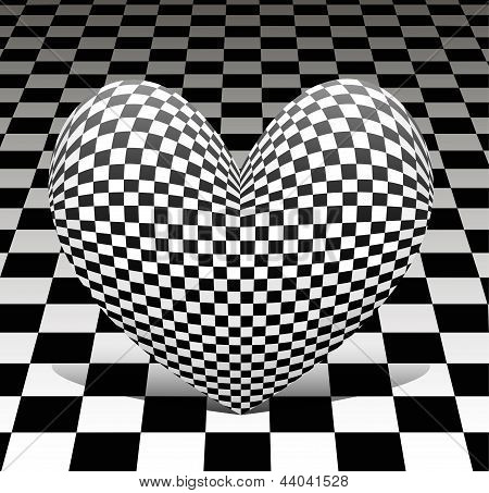 chess heart on the chess background