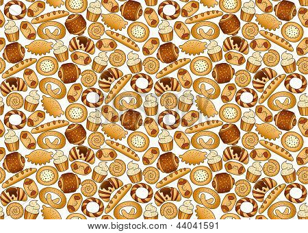 Bakery foodstuffs set on a white background