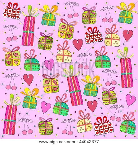 gifts on a pink background