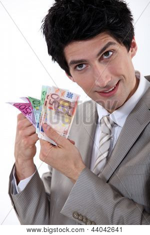banker holding bank notes