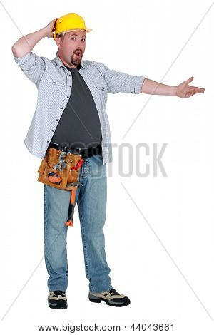 Landscape picture of puzzled worker
