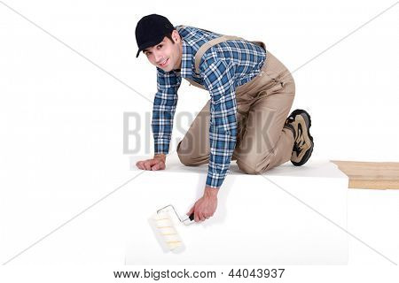 Painter painting a rectangle