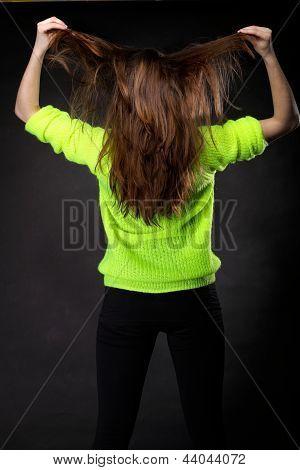 Beautiful Female Brown Long Hair Back View