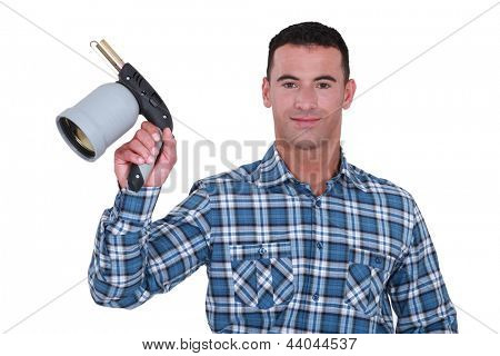 Man showing blowtorch on white background