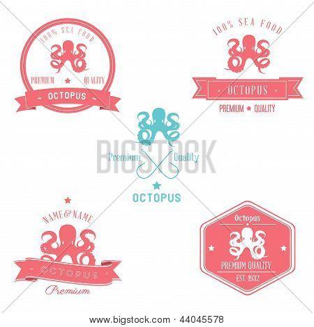 Vintage Octopus Badge set