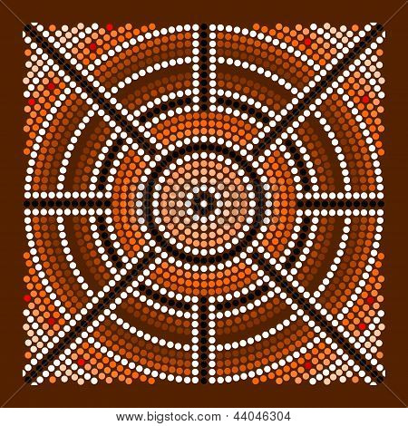 A illustration based on aboriginal style of dot painting depicting center