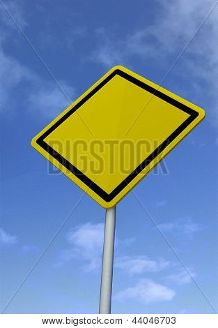 Blank road sign on sky background