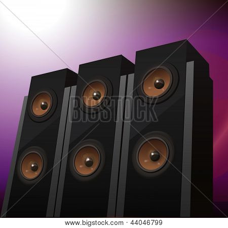 Three hi-fi speakers on abstract background, vector illustration