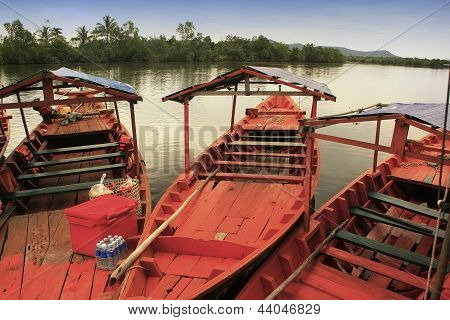 Colorful Boat At Ream National Park, Cambodia