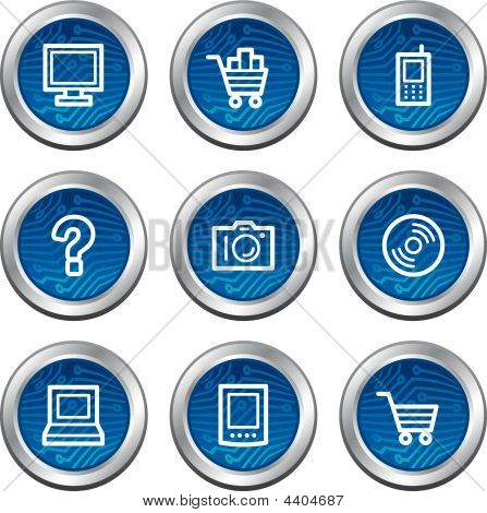 Electronics Web Icons Blue Electronics Buttons Series