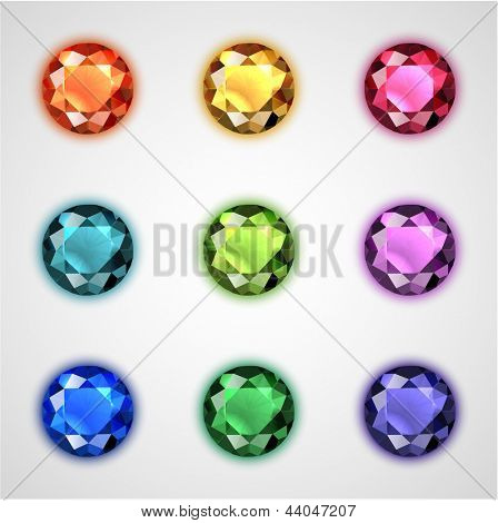 Colorful gemstones collection - eps10 vector