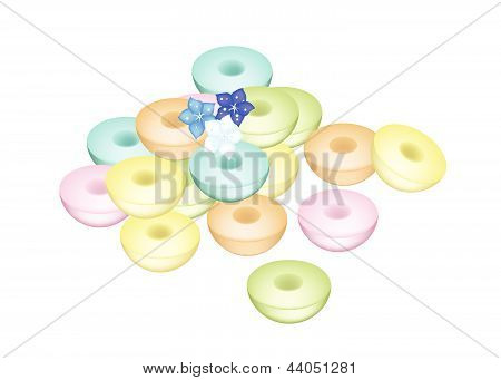 Colorful Thai Sweetmeat Puddings On White Background