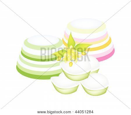 Colorful Thai Layer Jelly On White Background