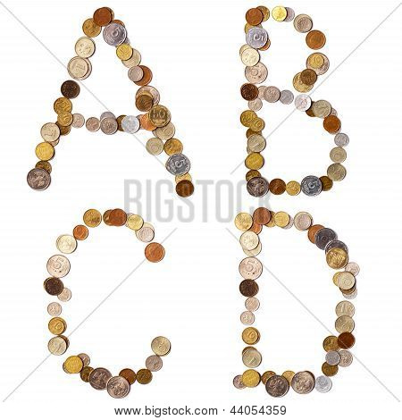 A-B-C-D alphabet letters from the coins