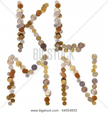 K-L-M-N alphabet letters from the coins