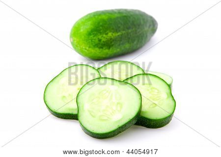 Cucumber And Slices Isolated