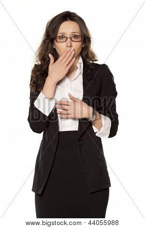 ashamed business woman