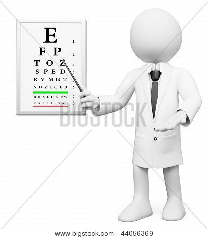 3D White People. Optometrist, Optician
