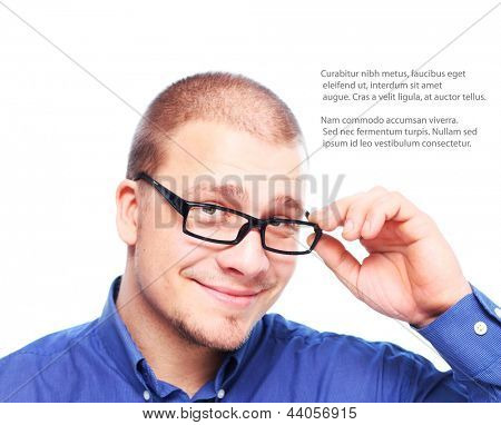 Young  attractive man  smiling in black eyeglasses  isolated on white background with copy space.