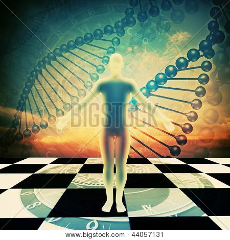 Abstract Environmental Backgrounds With Human Dna
